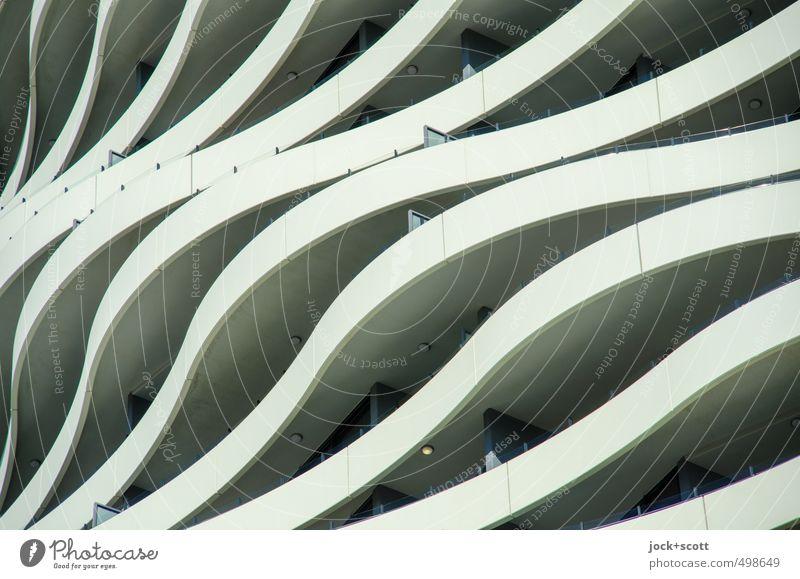 City Movement Building Style Exceptional Line Art Facade Arrangement Elegant Design Modern Esthetic Concrete Creativity Stripe