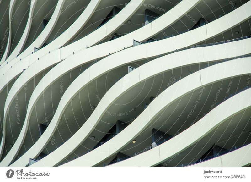 wave-like City Movement Building Style Exceptional Line Art Facade Arrangement Elegant Design Modern Esthetic Concrete Creativity Stripe