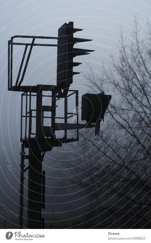 beacon Signal Railroad Electricity pylon Telegraph pole Broadcasting tower Fog Haze Tree Branch November Autumn Bleak Cold Monochrome Silhouette Gray Black