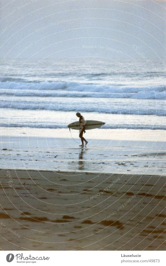 Water Ocean Summer Beach Dark Sand Waves Walking Wet France Wooden board Surfer Atlantic Ocean