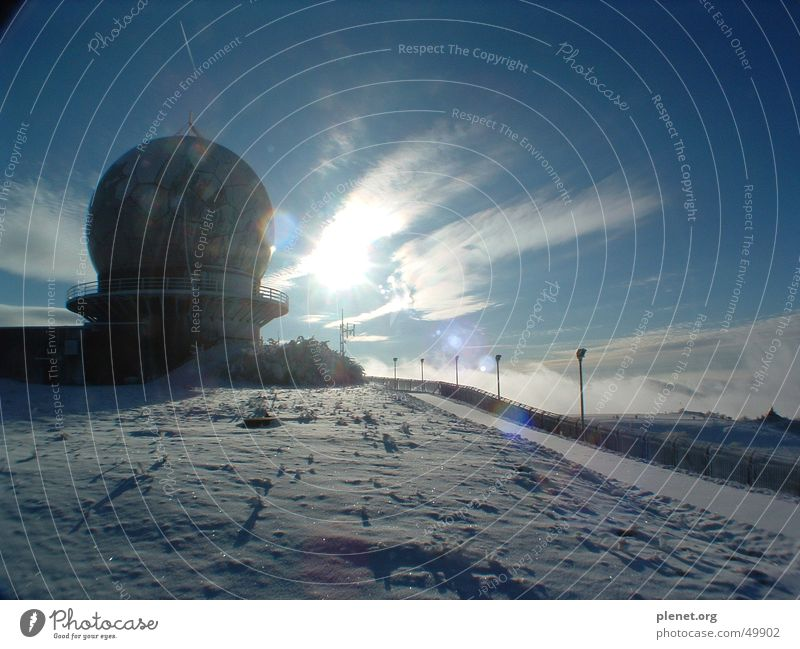 Sky Sun Snow Mountain Fulda district Radar station Transmitting station Rhön Wasserkuppe