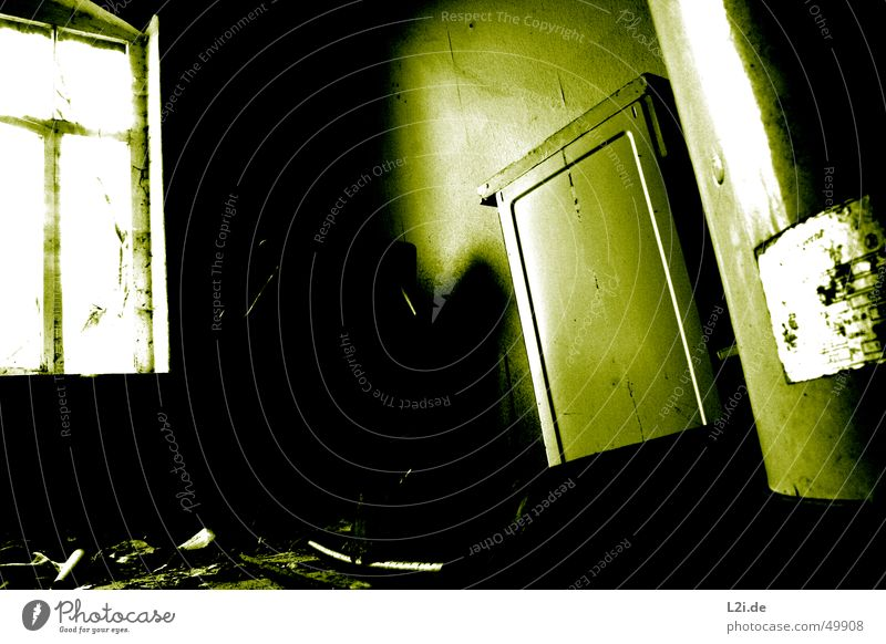 Old White Green House (Residential Structure) Black Loneliness Dark Wall (building) Window Room Creepy Destruction Stove & Oven