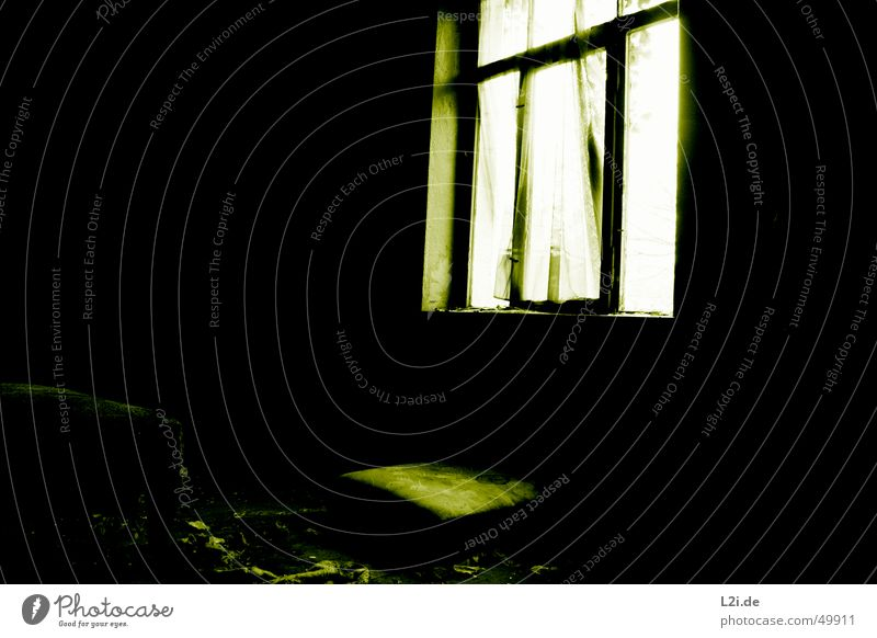 Green Room IV Black White Light Window Dark Creepy Wall (building) House (Residential Structure) Bed Destruction Old Contrast Loneliness