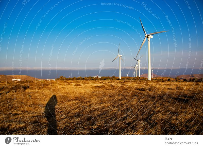 turbines Plate Vacation & Travel Renewable energy Wind energy plant Nature Plant Sky Clouds Gale Grass Hill Architecture Facade Metal Steel Dirty Energy aeolian
