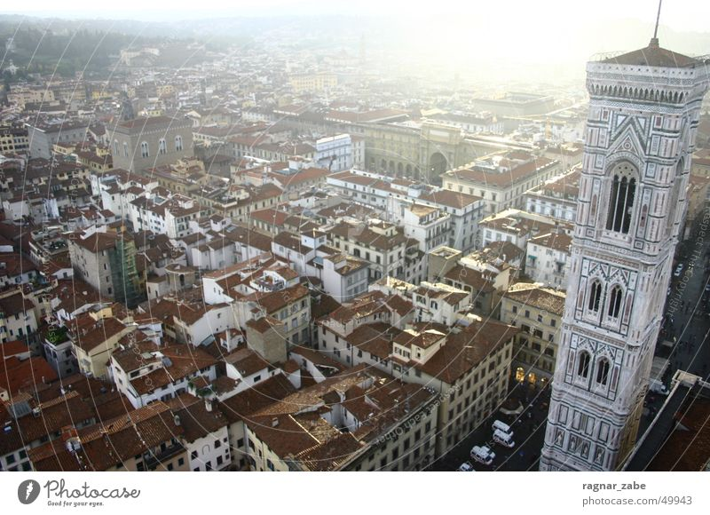 company tower Florence Trip Italy Roof Summer Bell tower s. maria del fiore Religion and faith Dome Tower Sun Backlight Town Morning