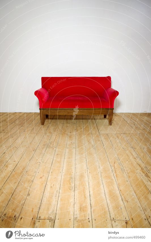 The red sofa Lifestyle Style Design Sofa Illuminate Esthetic Simple Elegant Beautiful Red White Calm Uniqueness Passion 1 Settee Luxury Wooden floor Central