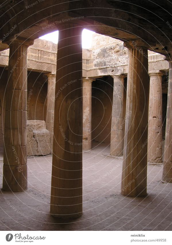 king's tomb Cyprus Europe Grave Light Past Time travel Column Warehouse Stone Sun