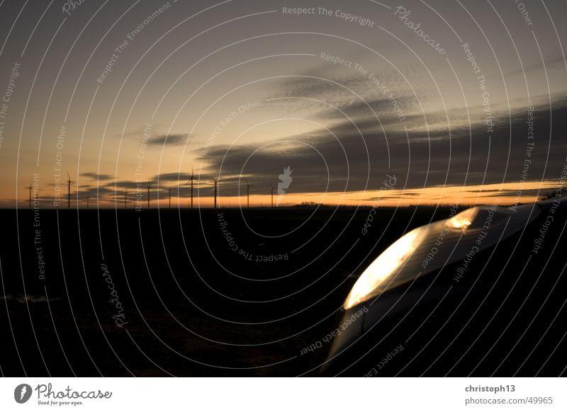 Sky Sun Colour Dark Car Horizon Energy industry Wind energy plant Floodlight Renewable energy