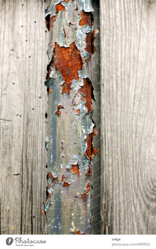 detail 4 Deserted Facade Iron-pipe Pipe Rust Wood Metal Old Broken Brown Gray Decline Transience Change Weathered Derelict Crack & Rip & Tear Flake off