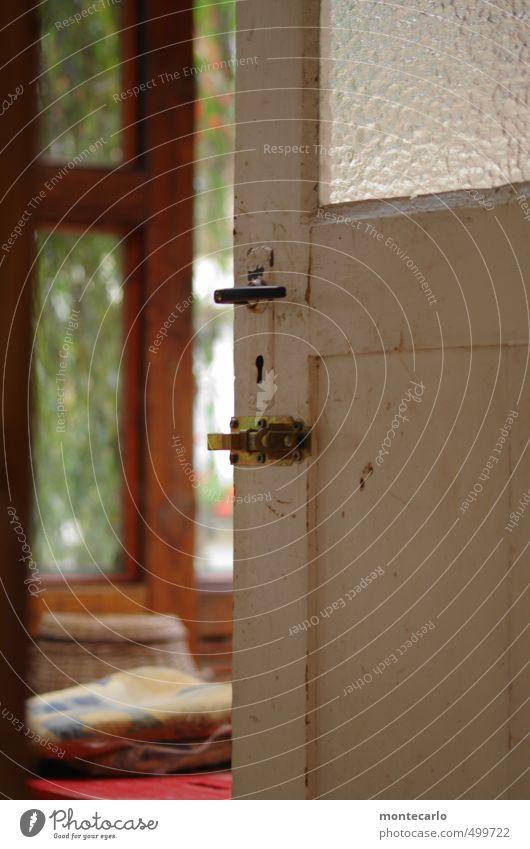 BACKDOOR Window Door Front door Entrance Back door Door handle Locking bar Cushion Door lock Keyhole Wood Glass Metal Observe Looking Old Authentic Uniqueness