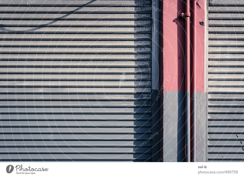 Unfinished Living or residing Work and employment Workplace Factory SME Closing time Poverty Town Gray Pink Shutter Shut down Closed Pillar Metal Barrier