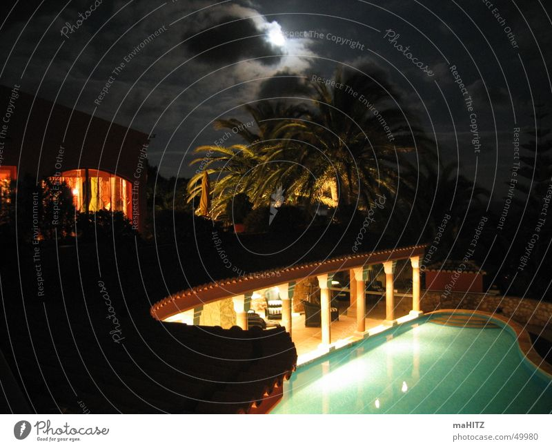 Hotel Vivenda Miranda at night Portugal Lagos Night Moonlight Palm tree Swimming pool algave