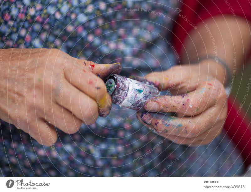 Grandma's finger paints Joy Skin Manicure Human being Woman Adults Female senior Senior citizen Hand Fingers 1 Art Artist Painter Fashion Dress To hold on