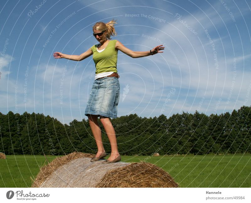 Woman Sky Summer Joy Clouds Forest Meadow Jump Field Fir tree Coil Straw Cirrus Hay Hay bale Roll of straw