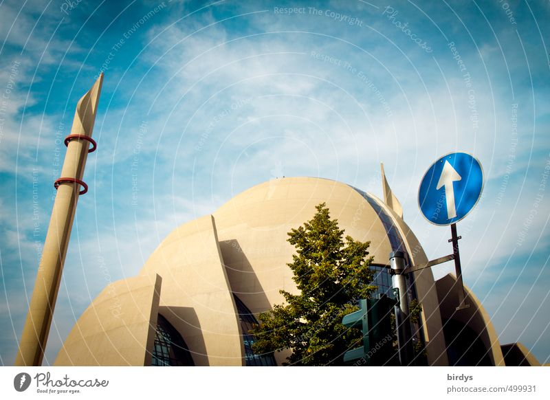 a matter of faith Cologne-Ehrenfeld Architecture Mosque Sign Road sign Arrow Esthetic Blue Yellow Acceptance Protection Responsibility Mistrust Popular belief
