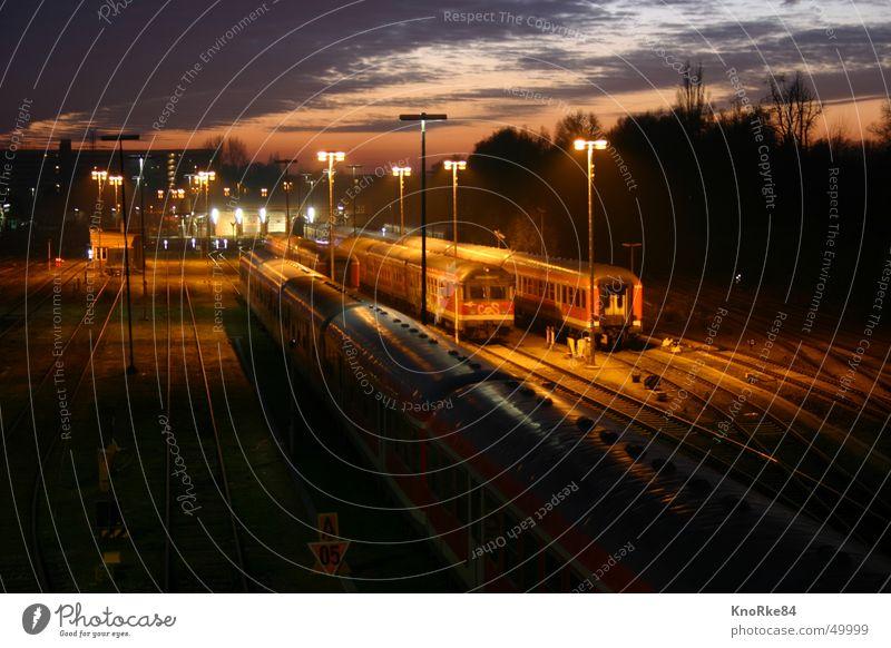 Railway tracks at night Sunset Railroad tracks Night railway tracks Evening