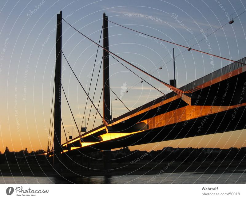 Water Sky Sun Blue Bridge River Steel Column Duesseldorf Rhine Aspire Pylon