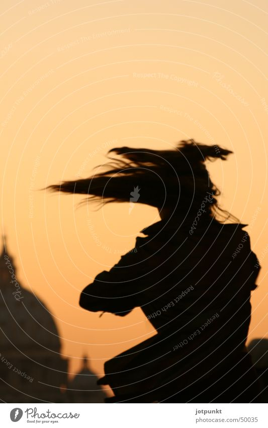 roman dance St. Peter's Cathedral St. Angel's Castle Rome Rotation Swing Sunset Woman Speed Dance Hair and hairstyles