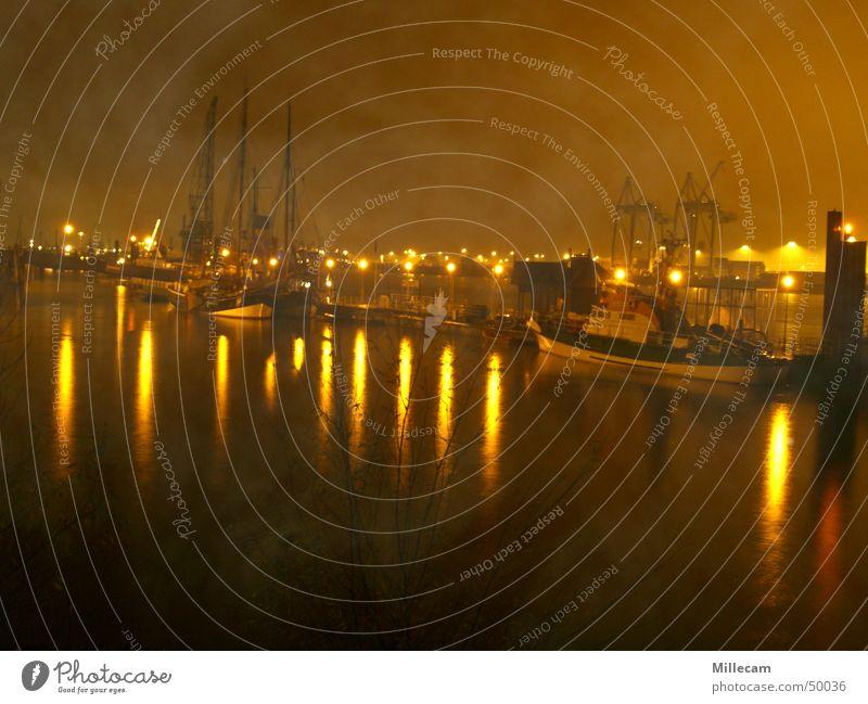 foggy habor Fog Night Lighting Watercraft Harbour Hamburg