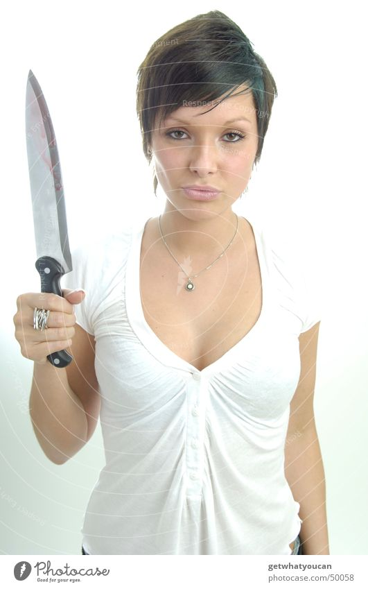 Woman Beautiful Death Threat Force Evil Knives Murder Kill Blade