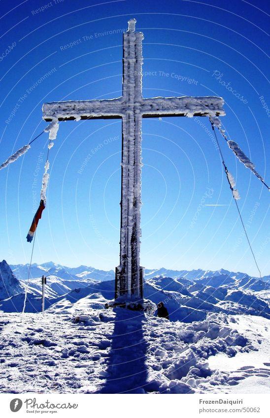 Sky Sun Winter Cold Snow Mountain Ice Bright Frost Alps Peak Frozen Freeze Federal State of Tyrol Virgin snow Peak cross