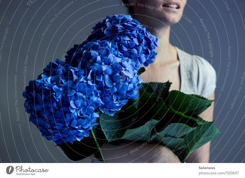 Human being Blue Plant Summer Flower Joy Leaf Emotions Feminine Spring Blossom Happy Contentment Large Fresh Mouth