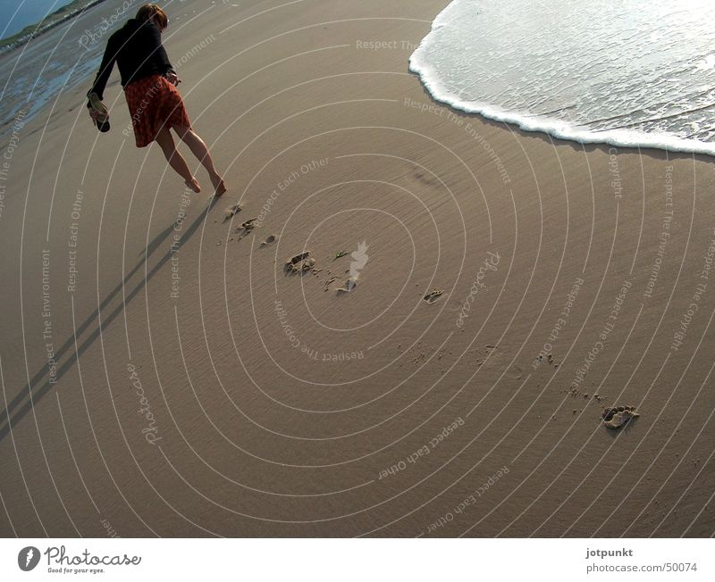 Water Ocean Beach Sand Waves Tracks Footprint