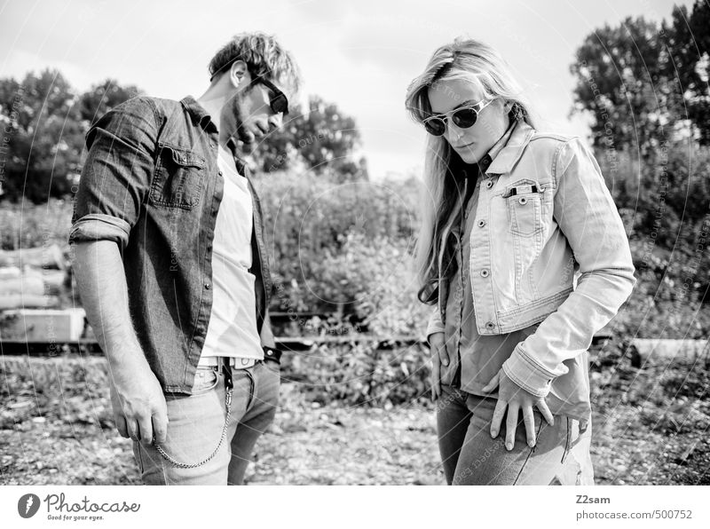 Human being Nature Youth (Young adults) Young woman Landscape Young man 18 - 30 years Adults Environment Autumn Style Couple Fashion Together Blonde Lifestyle