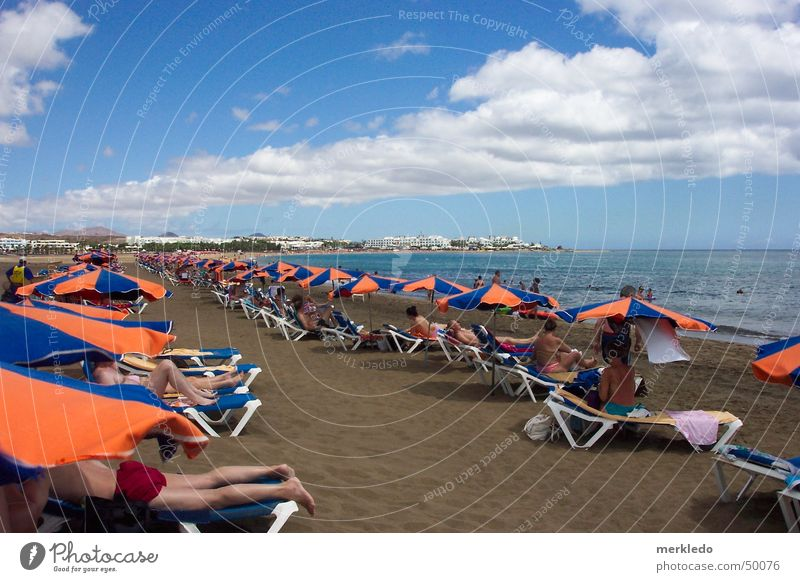 beach life Beach Ocean Lanzarote Vacation & Travel Beach life Sunshade Deckchair Spain Canaries Volcanic island Longing Exterior shot Snapshot Lie Sand Water