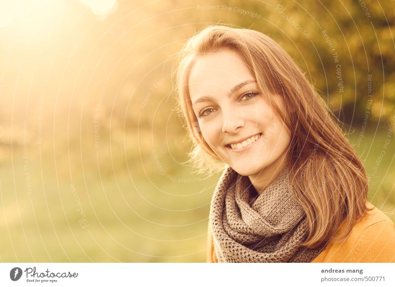 sunny smile Human being Feminine Young woman Youth (Young adults) Sister Head 1 18 - 30 years Adults Scarf Brunette Long-haired Smiling Illuminate Free Happy