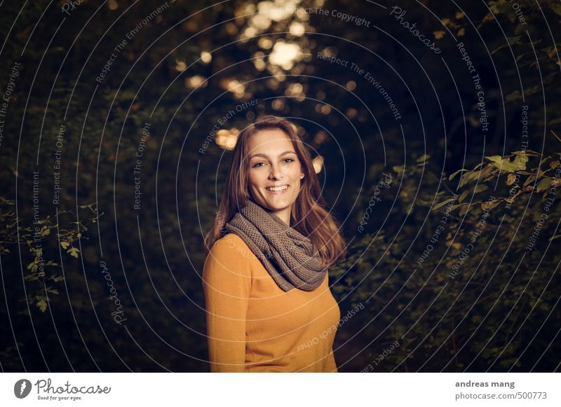 a smile Feminine Young woman Youth (Young adults) 1 Human being 18 - 30 years Adults Nature Forest Scarf Brunette Long-haired Smiling Laughter Dark Authentic