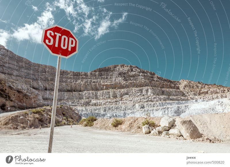STOP Landscape Sky Clouds Summer Beautiful weather Rock Mountain Street Stone Sign Signs and labeling Signage Warning sign Road sign Blue Brown Red White