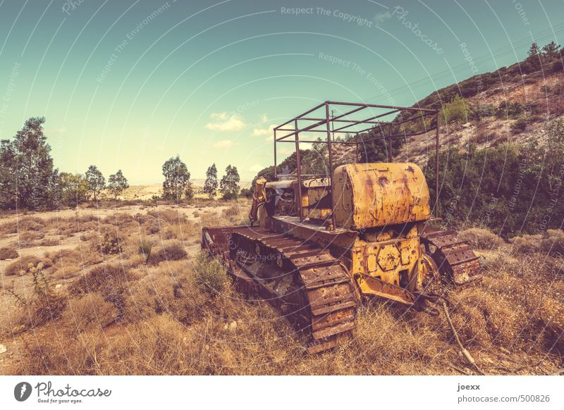 retirement Construction machinery Excavator Landscape Sky Clouds Horizon Summer Beautiful weather Grass Field Old Stand Hideous Broken Trashy Blue Brown Yellow