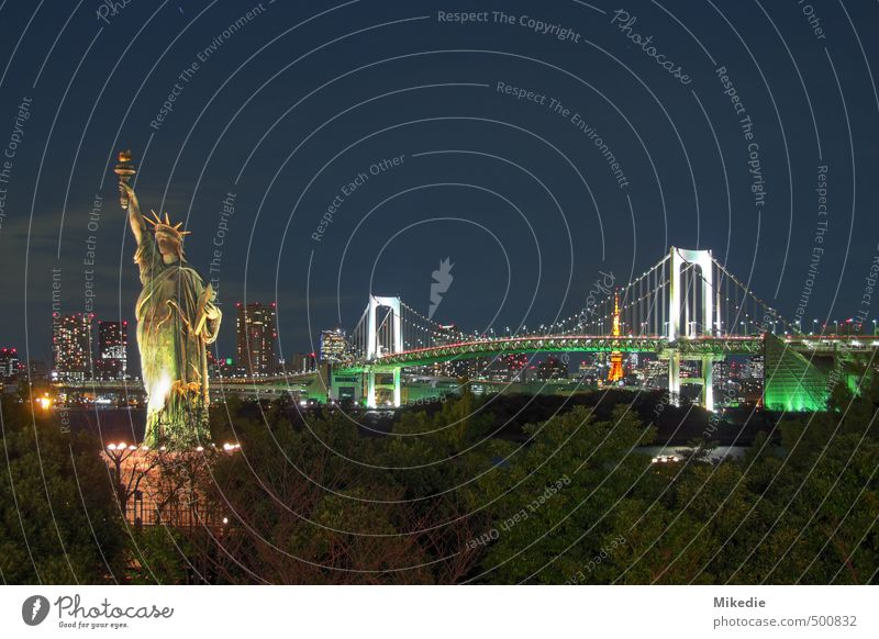 Rainbow Bridge at night Capital city Skyline High-rise Architecture Romance Tokyo Japan Statue of liberty Odaiba HDR Tokyo Tower Colour photo Exterior shot