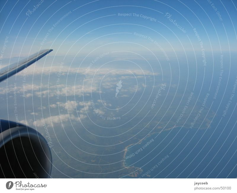 planview Horizon Clouds Engines Airplane Sardinia Coast Structures and shapes Sky Wing Flying