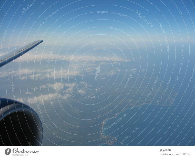 Sky Clouds Coast Airplane Flying Horizon Wing Engines Sardinia