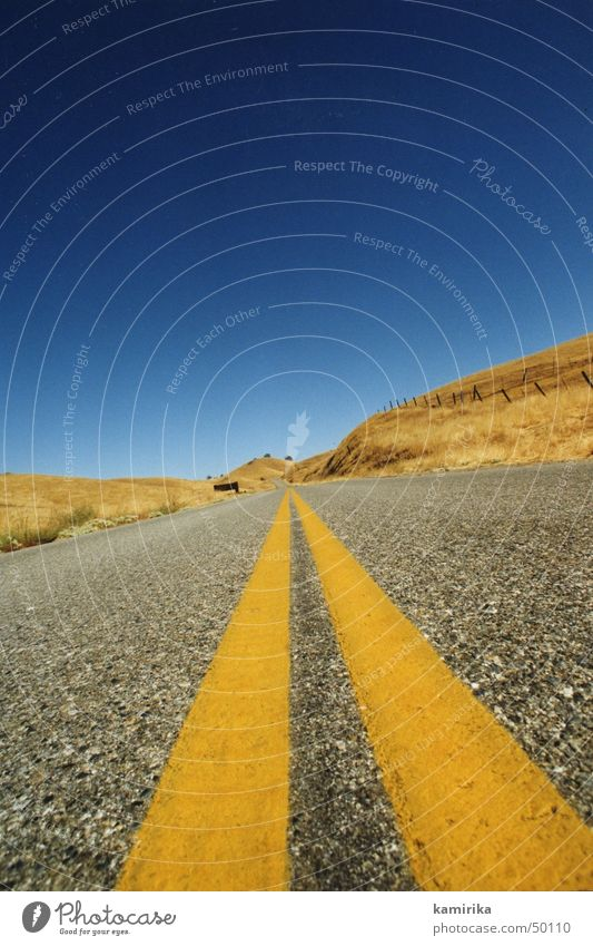 Blue Sun Yellow Street Lanes & trails Grass Sand Line Speed Desert Infinity Eternity Dry California Los Angeles