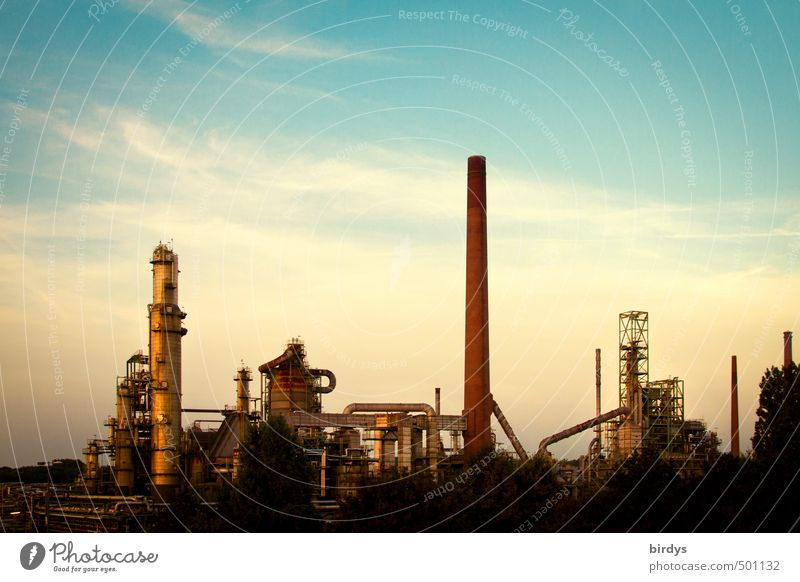 Petrochemistry picturesque Industry Energy industry Sky Clouds Industrial plant Refinery Chimney Esthetic Dark Blue Yellow Advancement Performance