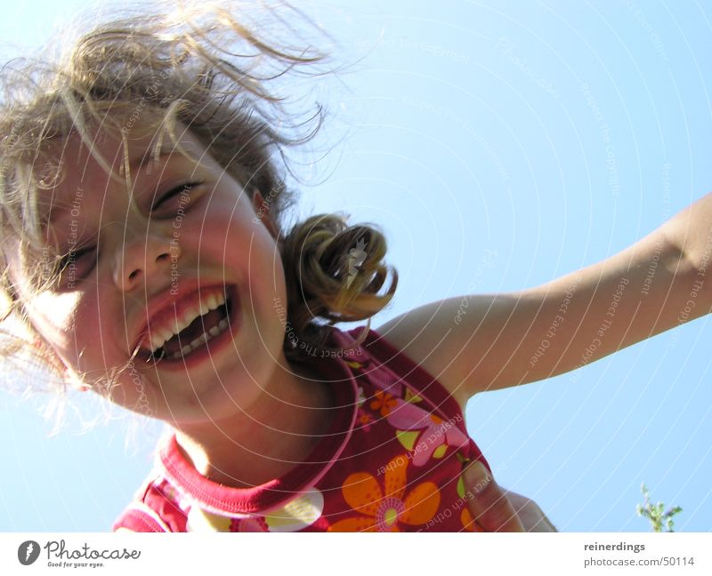 Child Girl Sky Sun Blue Red Summer Joy Face Happy Laughter Blonde Flying Joie de vivre (Vitality) Curl Summer dress