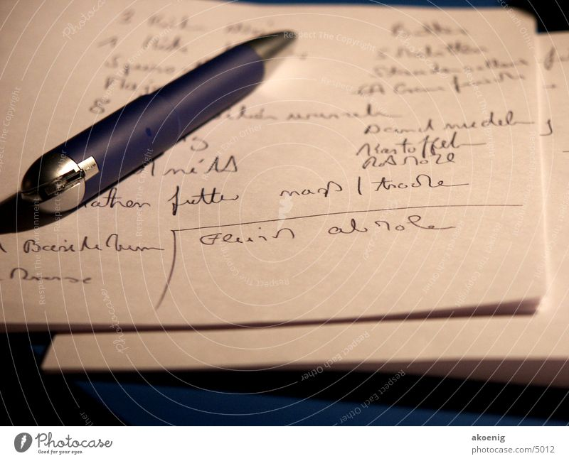 shopping list Feed Writer Ballpoint pen Photographic technology Life