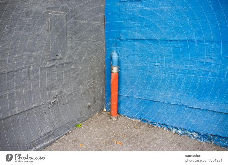 cornered... Art Architecture Environment Small Town Downtown House (Residential Structure) Wall (barrier) Wall (building) Facade Blue Gray Orange Pipe Iron-pipe