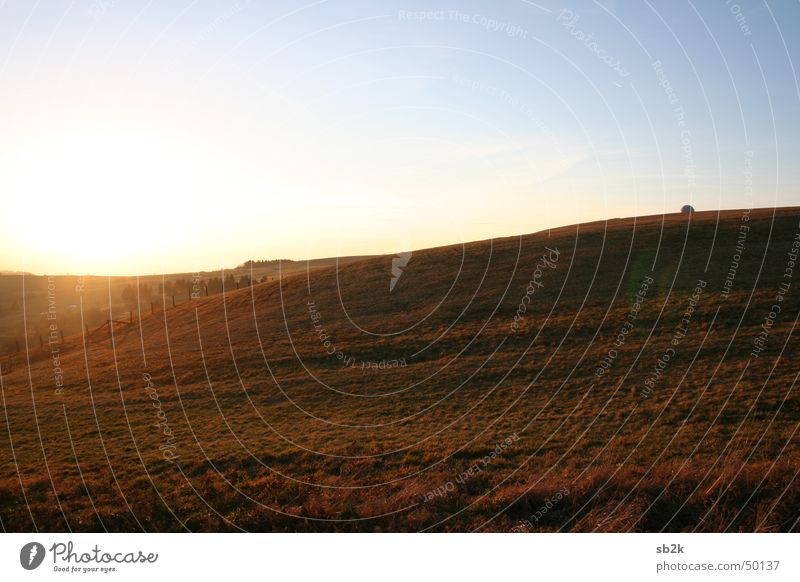 Wild Wild West Fence Meadow Wasserkuppe Radar station Grass Brown Light blue Hill Infinity Rhön Sphere Sun Lawn Blue Mountain Smooth Far-off places