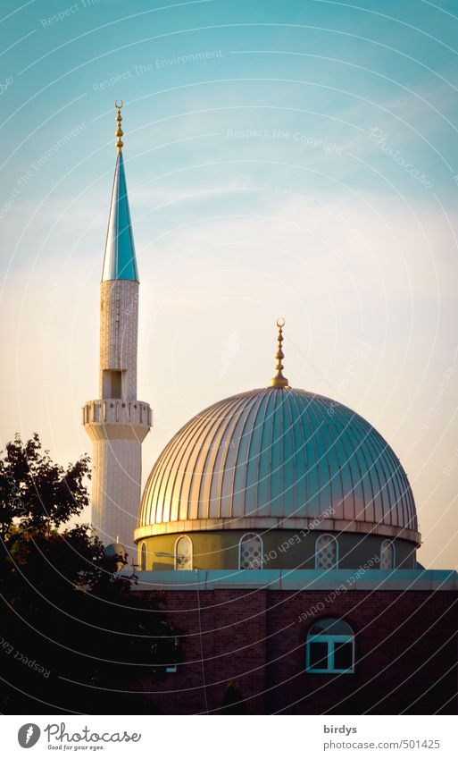 Beautiful Religion and faith Germany Glittering Illuminate Esthetic Point Clean Round Exotic Domed roof Integration Islam Mosque Acceptance Minaret