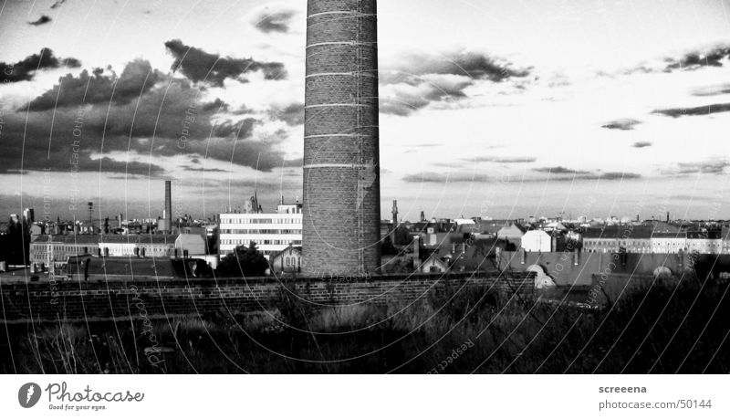 Moon Roller Panorama (View) Roof House (Residential Structure) Leipzig Chimney Sky Contrast Black & white photo Skyline cotton mill Large Architecture