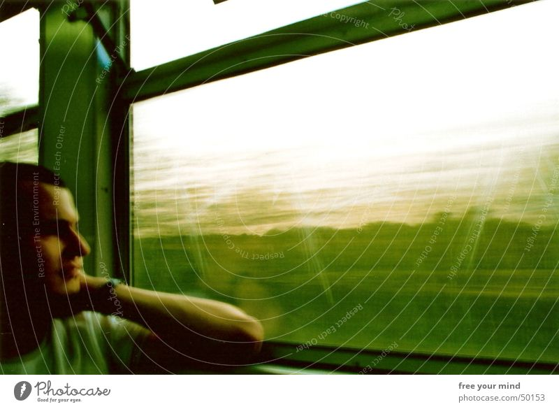 Green train ride Railroad Driving Window Thought Future Romance Interior shot Portrait photograph train ride green railway window movement thoughts Movement