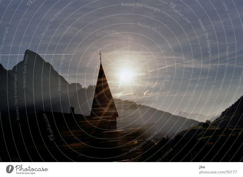 Church with sun Yellow Saanenland Gstaad Religion and faith Sun Sky Blue Carrot Mountain Stone