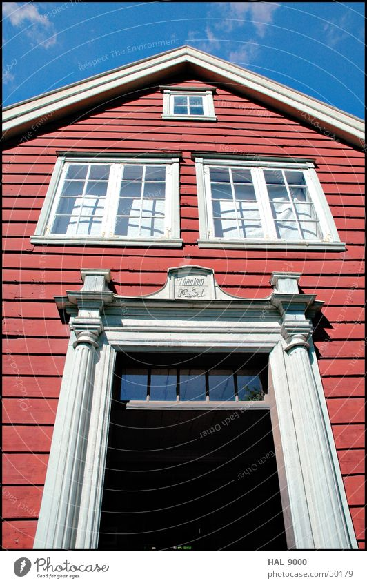 Old Sky White Blue Red House (Residential Structure) Black Clouds Window Wood Building Door Facade Historic Norway Scandinavia