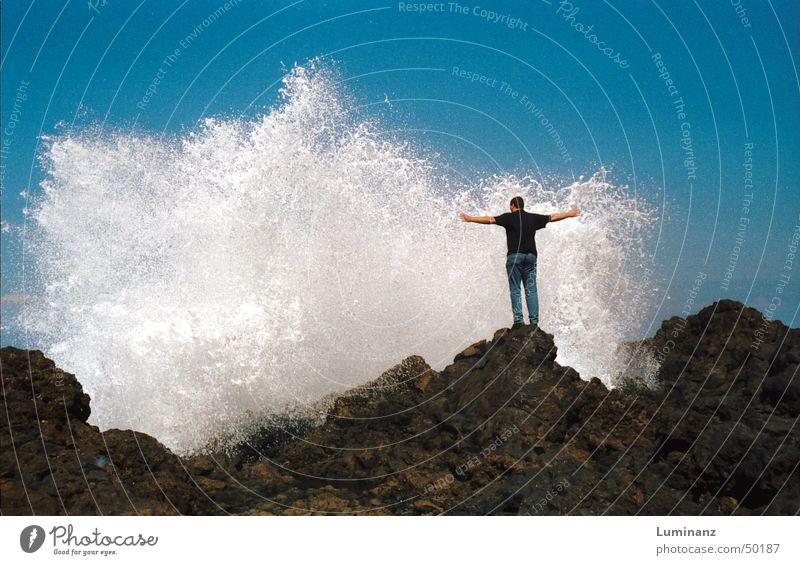 Water Ocean Summer Beach Vacation & Travel Lake Power Waves Coast Drops of water Wet Rock Fresh Spain Inject Refreshment