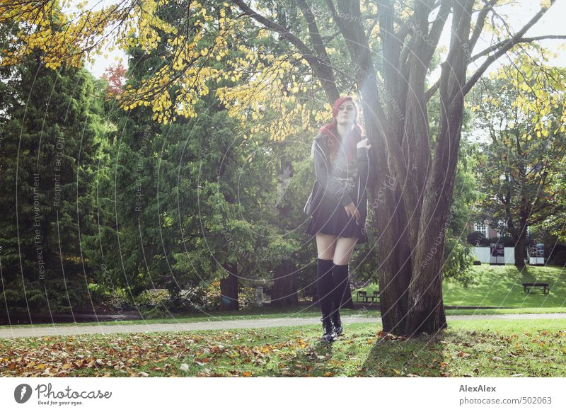 Portrait in autumn Young woman Youth (Young adults) Legs 18 - 30 years Adults Beautiful weather Tree Grass Autumn leaves Park Meadow Skirt Jacket Sock Boots