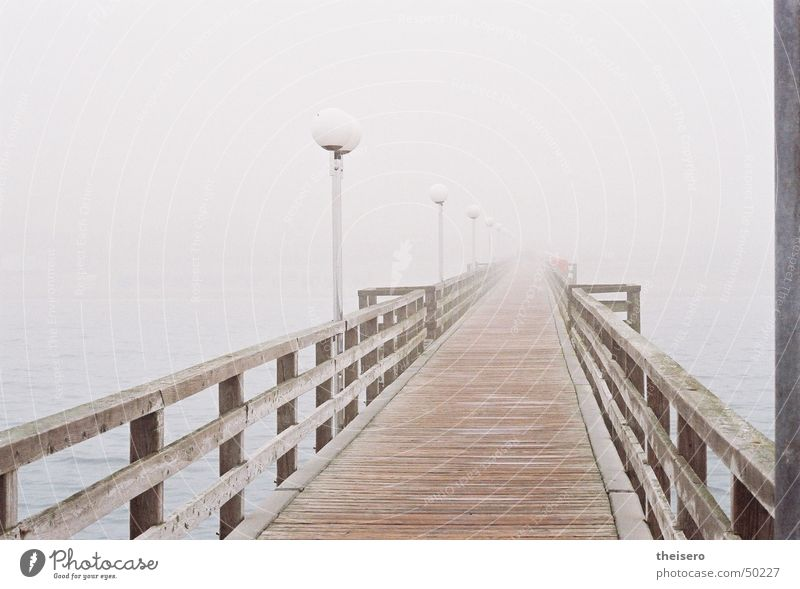 Water Ocean Loneliness Dark Wood Gray Coast Fog Empty Bridge Gloomy Lantern Footbridge Baltic Sea Handrail Bad weather